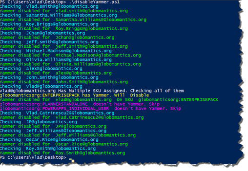 Disable Yammer Licenses in Office 365 with PowerShell