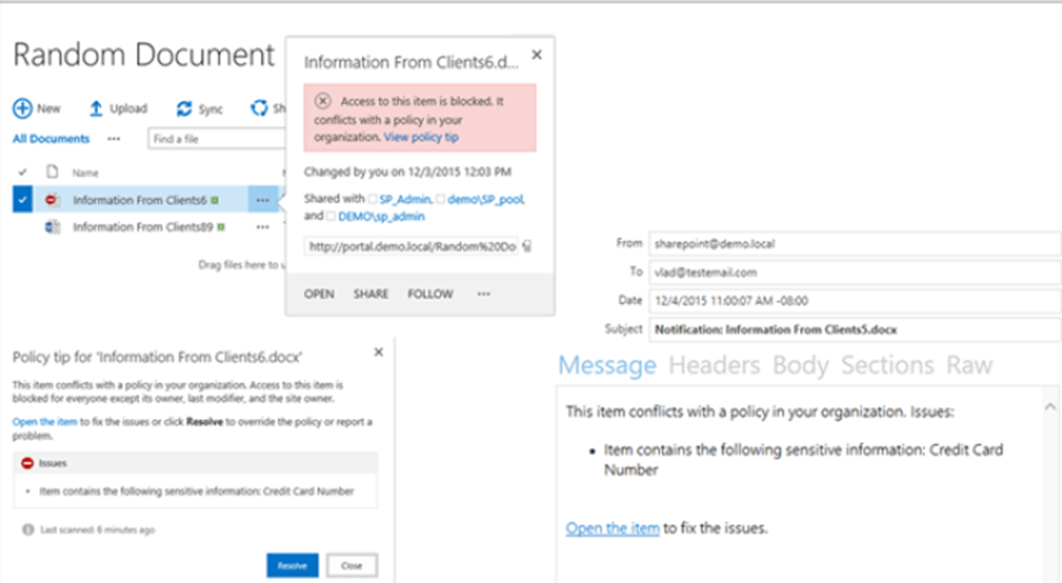 Data Loss Prevention in SharePoint 2016