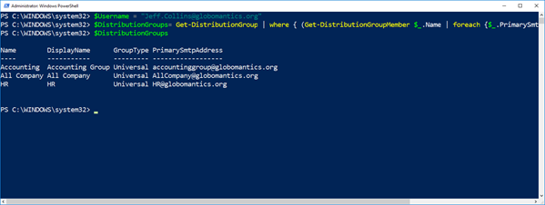 Find all the Distribution Groups a user is a member of with PowerShell in Office 365