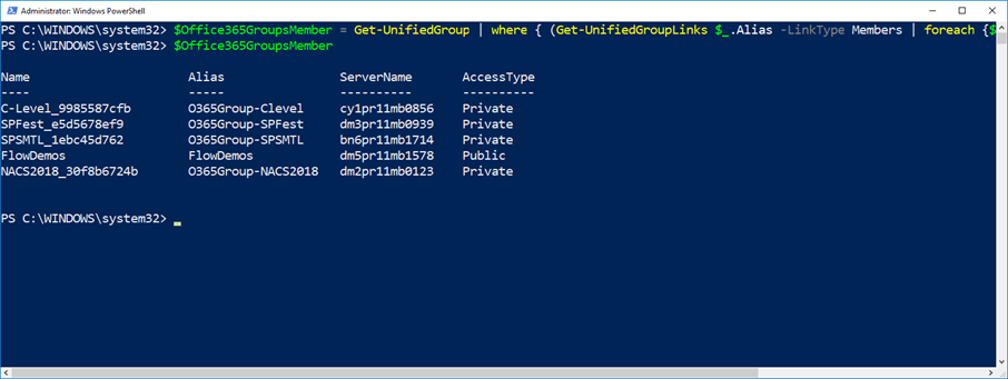 Find all the Office 365 Groups a user is a Member of with PowerShell