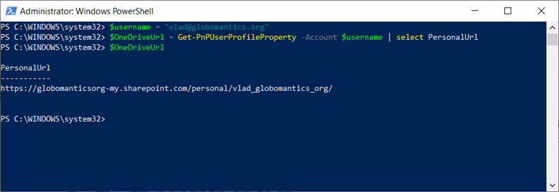 Find a user's OneDrive for Business site URL with PowerShell