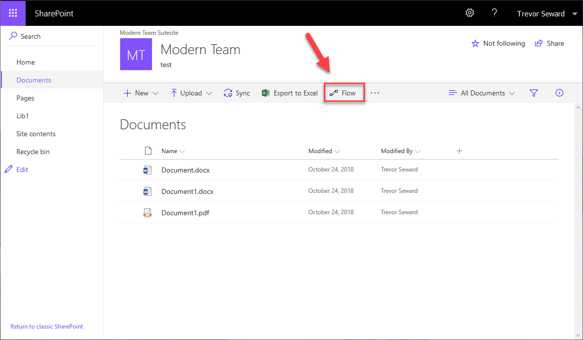 Flow button in SharePoint 2019