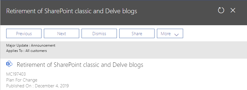 Classic SharePoint Blogs are Being Retired in SharePoint Online