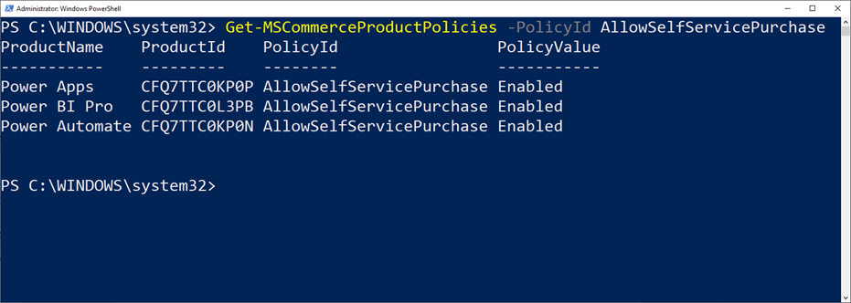 Disable Power Platform Self Service Purchasing