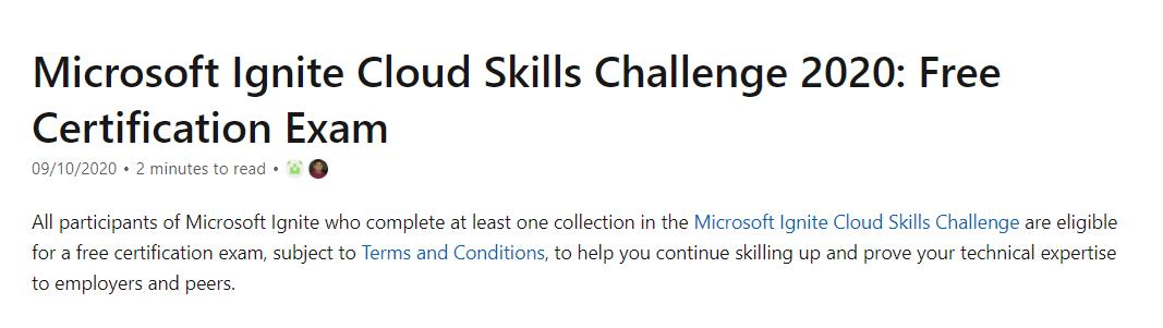 Ignite 2020 Cloud Skills Challenge