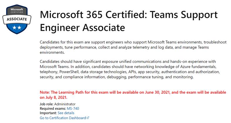 Microsoft 365 Certified: Teams Support Engineer Associate